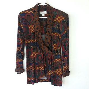 Vintage 80s Traces Colorful Wrap Blouse